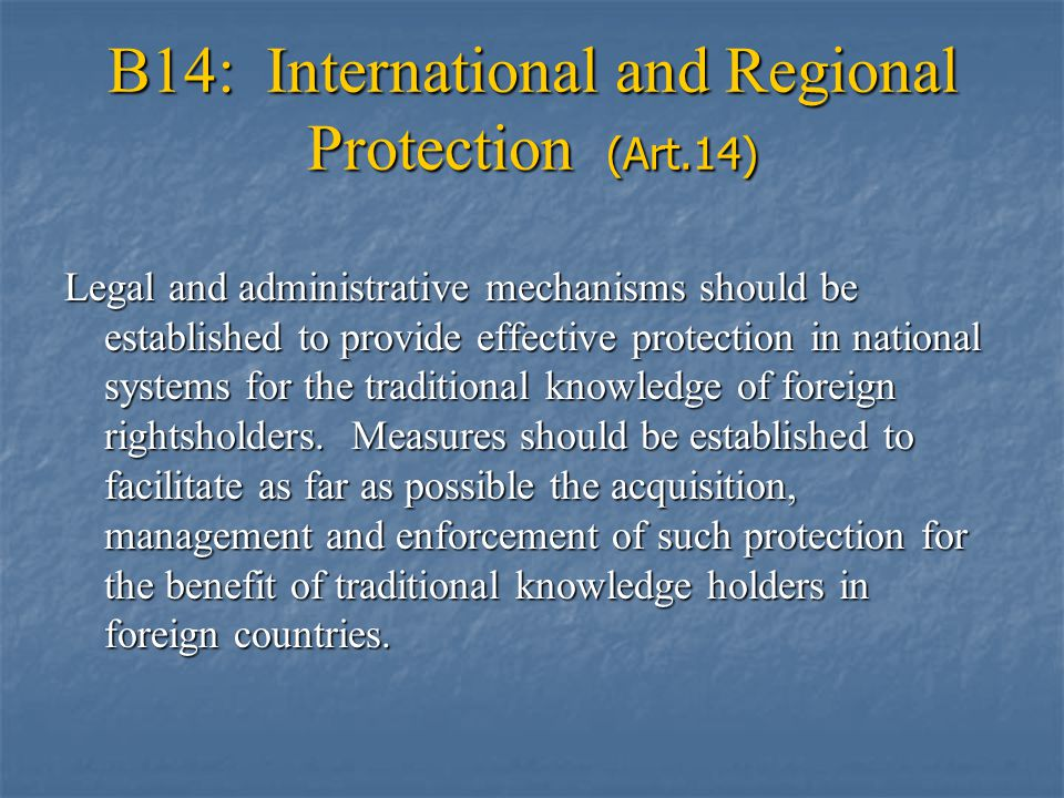 B14: International and Regional Protection (Art.14) Legal and administrative mechanisms should be established to provide effective protection in national systems for the traditional knowledge of foreign rightsholders.