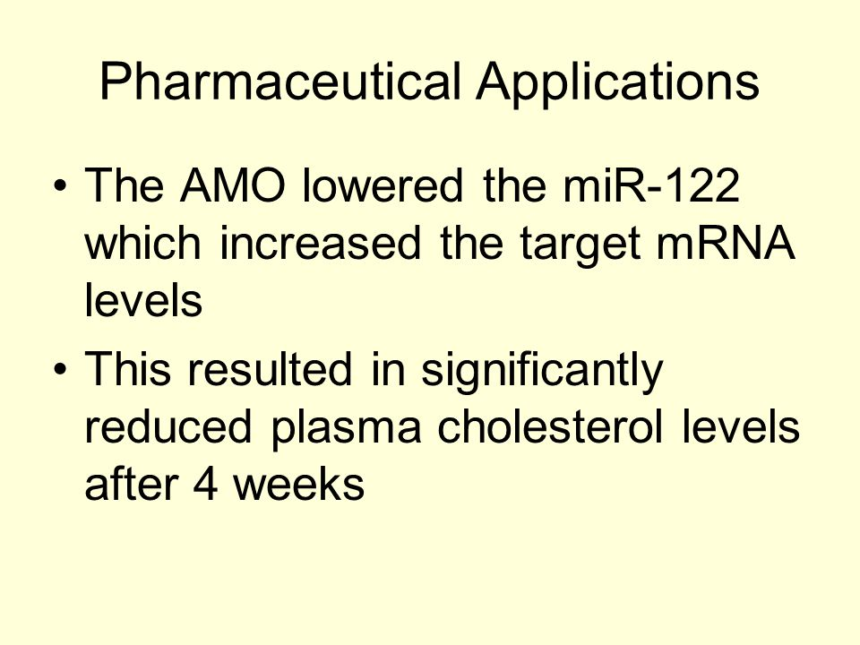 Pharmaceutical Applications The AMO lowered the miR-122 which increased the target mRNA levels This resulted in significantly reduced plasma cholester