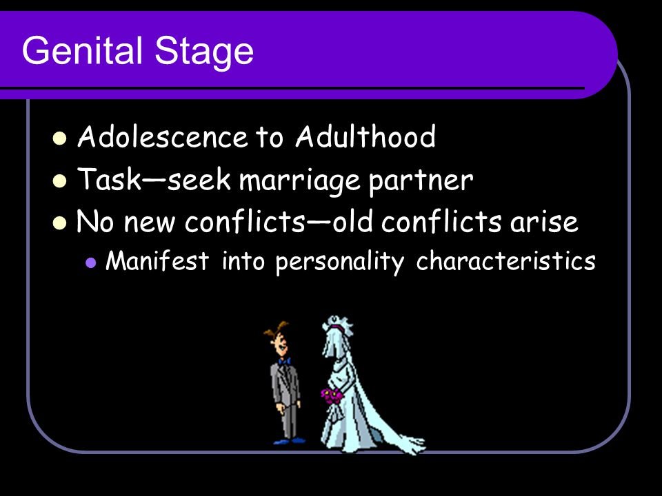 Genital Stage Adolescence to Adulthood Task—seek marriage partner No new conflicts—old conflicts arise Manifest into personality characteristics