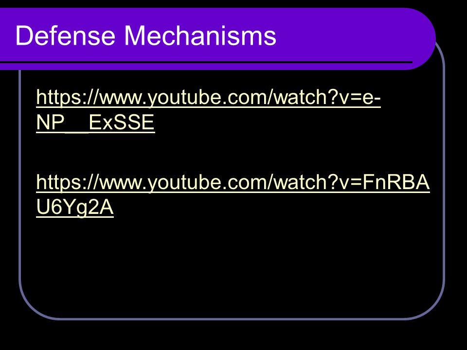 Defense Mechanisms https://www.youtube.com/watch?v=e- NP__ExSSE https://www.youtube.com/watch?v=FnRBA U6Yg2A