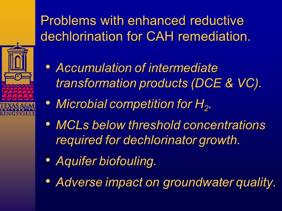 Problems with enhanced reductive dechlorination for CAH remediation.