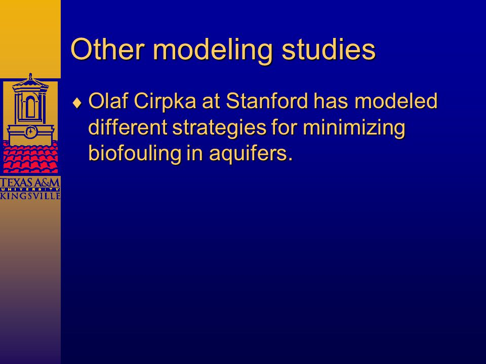 Other modeling studies  Olaf Cirpka at Stanford has modeled different strategies for minimizing biofouling in aquifers.