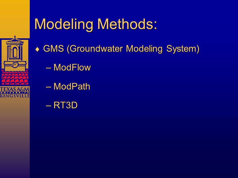 Modeling Methods:  GMS (Groundwater Modeling System) –ModFlow –ModPath –RT3D