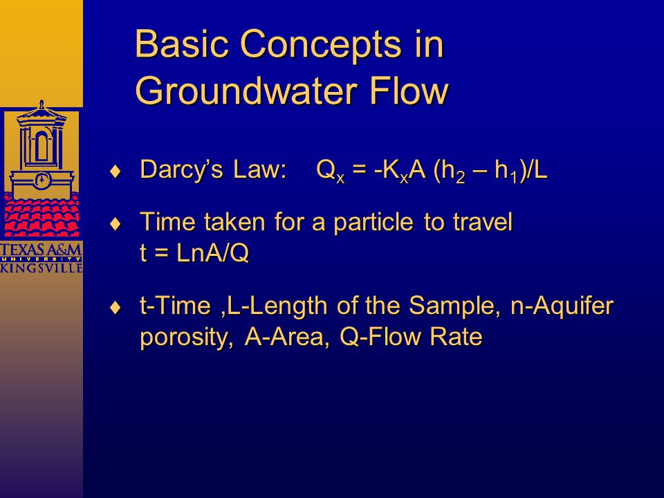 Basic Concepts in Groundwater Flow  Darcy's Law: Q x = -K x A (h 2 – h 1 )/L  Time taken for a particle to travel t = LnA/Q  t-Time,L-Length of the Sample, n-Aquifer porosity, A-Area, Q-Flow Rate