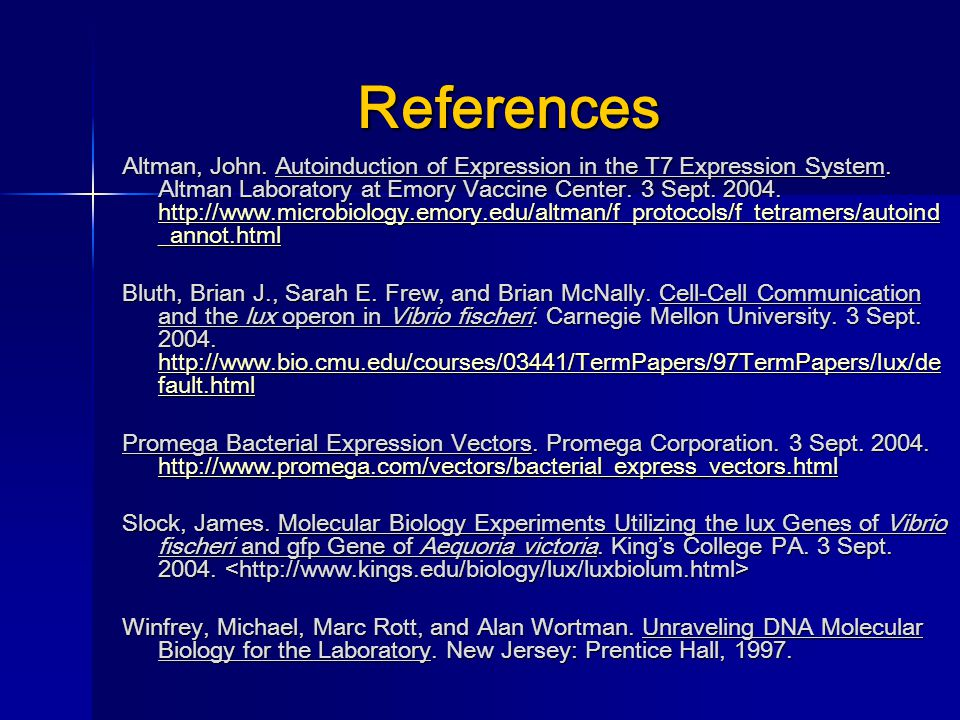 References Altman, John. Autoinduction of Expression in the T7 Expression System. Altman Laboratory at Emory Vaccine Center. 3 Sept. 2004. http://www.