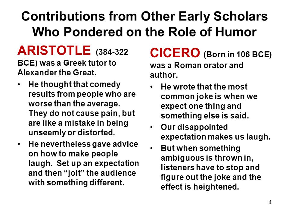 Contributions from Other Early Scholars Who Pondered on the Role of Humor ARISTOTLE (384-322 BCE) was a Greek tutor to Alexander the Great.