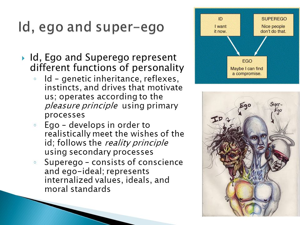  Id, Ego and Superego represent different functions of personality ◦ Id – genetic inheritance, reflexes, instincts, and drives that motivate us; operates according to the pleasure principle using primary processes ◦ Ego – develops in order to realistically meet the wishes of the id; follows the reality principle using secondary processes ◦ Superego – consists of conscience and ego-ideal; represents internalized values, ideals, and moral standards