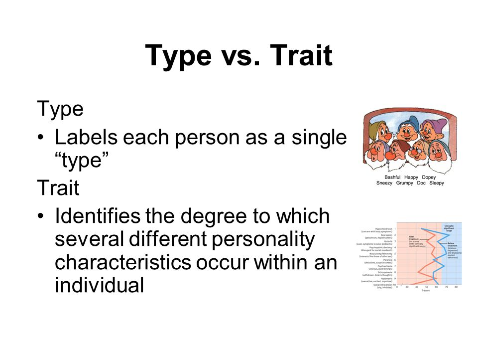 "Type vs. Trait Type Labels each person as a single ""type"" Trait Identifies the degree to which several different personality characteristics occur wit"