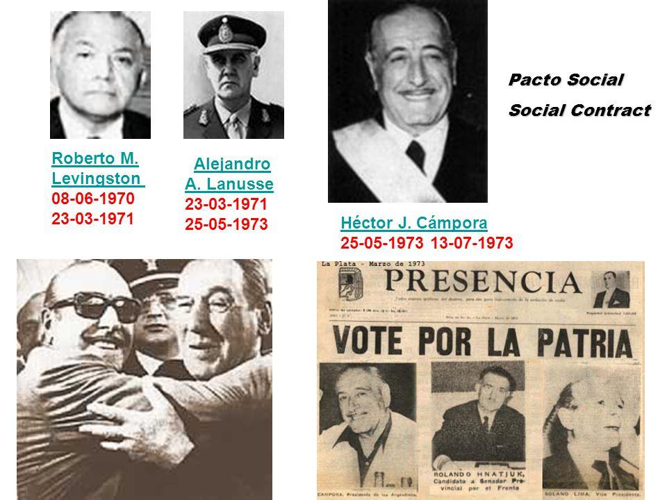 Héctor J. Cámpora 25-05-1973 13-07-1973 Roberto M. Levingston 08-06-1970 23-03-1971 Alejandro A. LanusseAlejandro A. Lanusse 23-03-1971 25-05-1973 Pac