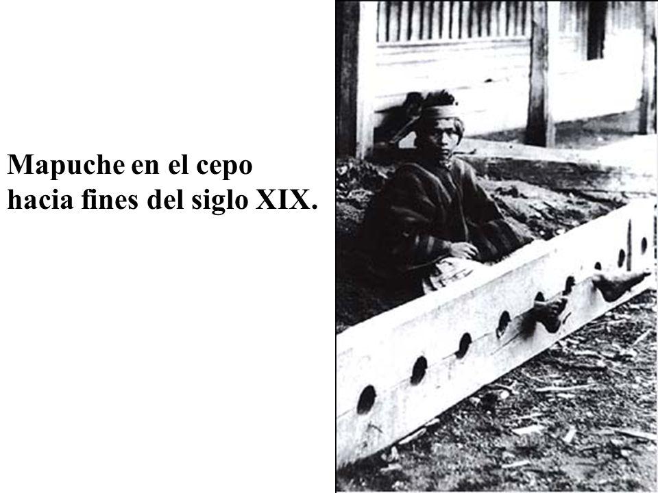 Mapuche en el cepo hacia fines del siglo XIX.