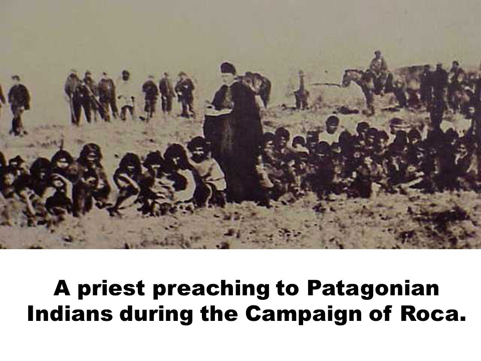 A priest preaching to Patagonian Indians during the Campaign of Roca.