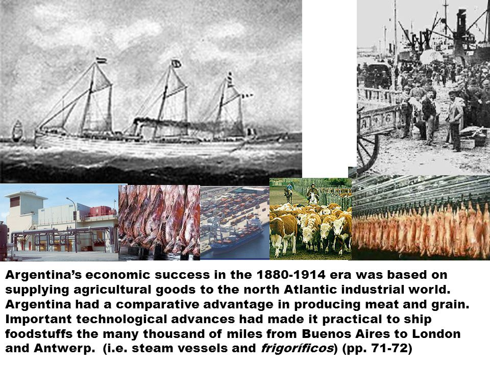 Argentina's economic success in the 1880-1914 era was based on supplying agricultural goods to the north Atlantic industrial world.