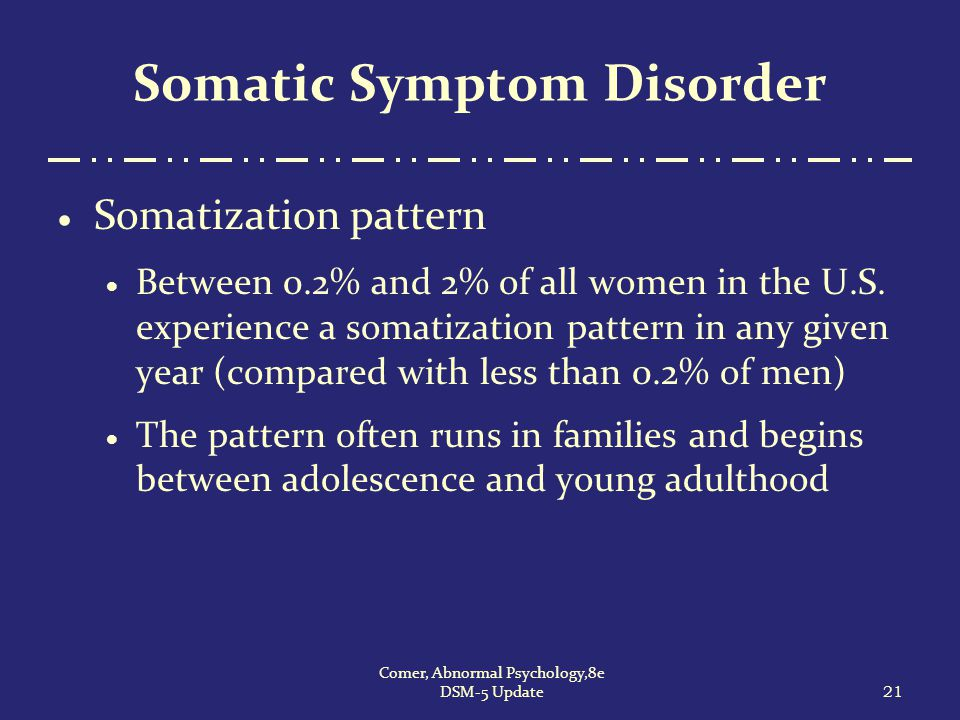 21 Comer, Abnormal Psychology,8e DSM-5 Update Somatic Symptom Disorder  Somatization pattern  Between 0.2% and 2% of all women in the U.S. experienc