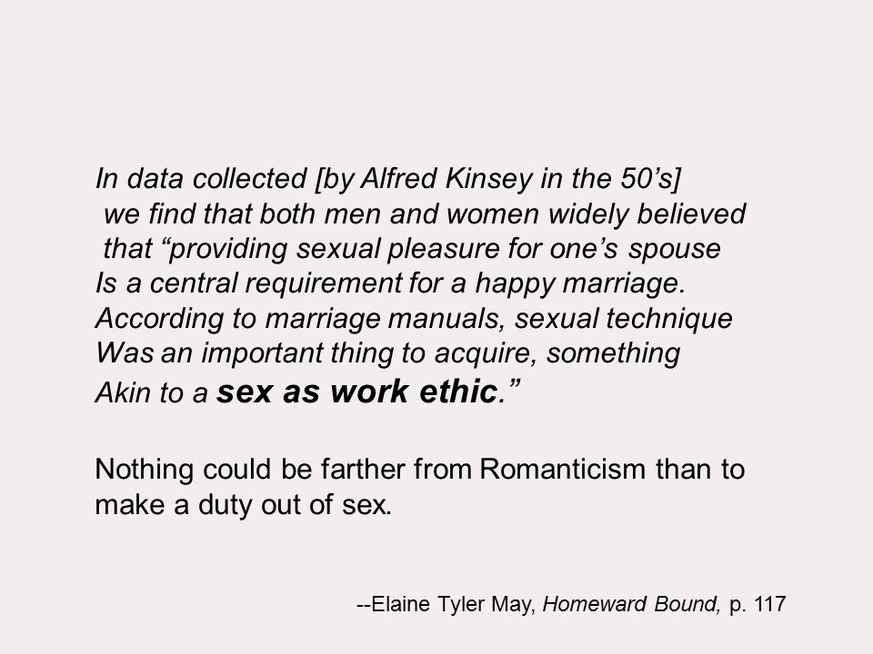 In data collected [by Alfred Kinsey in the 50's] we find that both men and women widely believed that providing sexual pleasure for one's spouse Is a central requirement for a happy marriage.