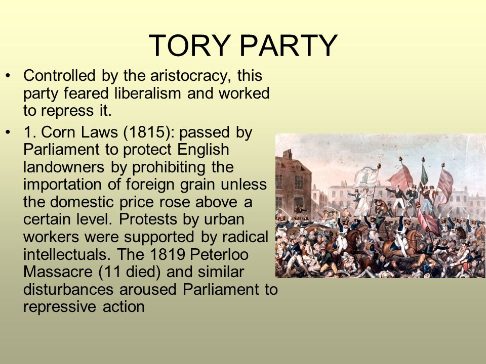 TORY PARTY Controlled by the aristocracy, this party feared liberalism and worked to repress it. 1. Corn Laws (1815): passed by Parliament to protect