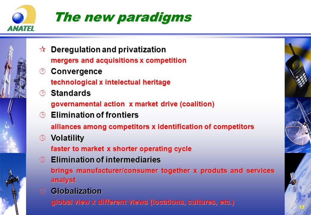 17 The new paradigms ¶Deregulation and privatization mergers and acquisitions x competition ·Convergence technological x intelectual heritage ¸Standards governamental action x market drive (coalition) ¹Elimination of frontiers alliances among competitors x identification of competitors alliances among competitors x identification of competitors ºVolatility faster to market x shorter operating cycle »Elimination of intermediaries brings manufacturer/consumer together x produts and services analyst ¼Globalization global view x different views (locations, cultures, etc.)