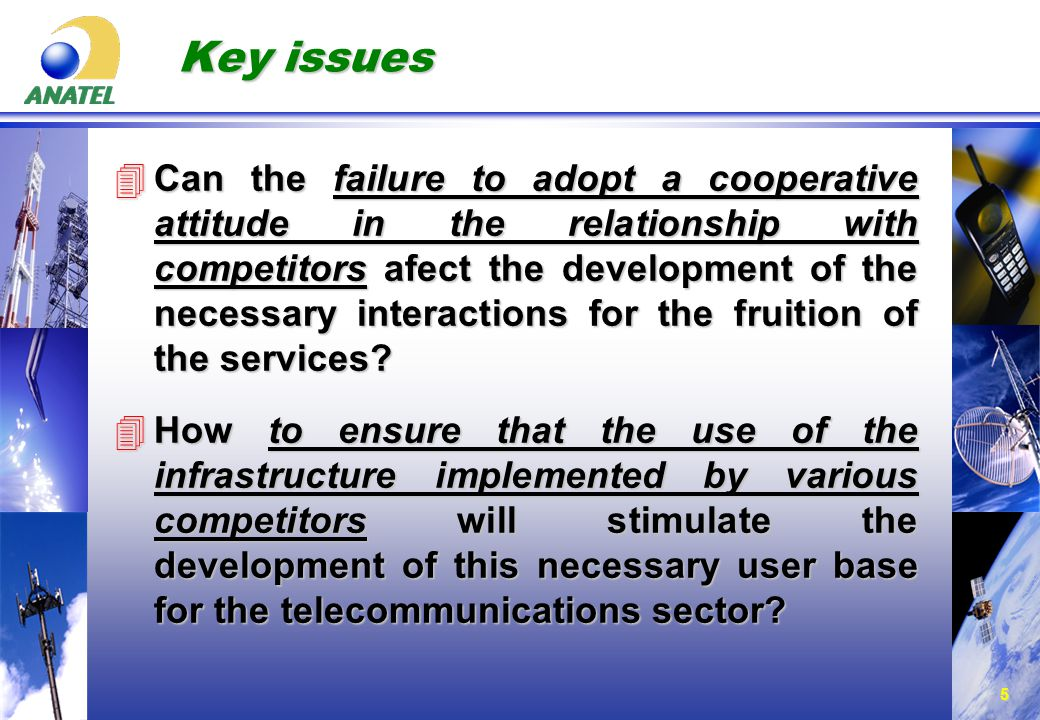 5 Key issues 4Can the failure to adopt a cooperative attitude in the relationship with competitors afect the development of the necessary interactions for the fruition of the services.