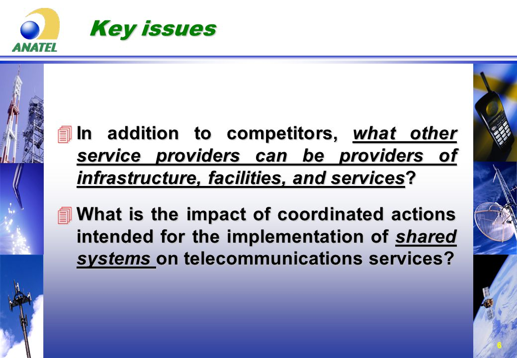 6 Key issues 4In addition to competitors, what other service providers can be providers of infrastructure, facilities, and services.