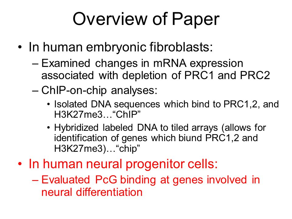 Overview of Paper In human embryonic fibroblasts: –Examined changes in mRNA expression associated with depletion of PRC1 and PRC2 –ChIP-on-chip analyses: Isolated DNA sequences which bind to PRC1,2, and H3K27me3… ChIP Hybridized labeled DNA to tiled arrays (allows for identification of genes which biund PRC1,2 and H3K27me3)… chip In human neural progenitor cells: –Evaluated PcG binding at genes involved in neural differentiation