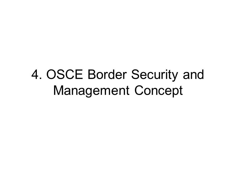 4. OSCE Border Security and Management Concept