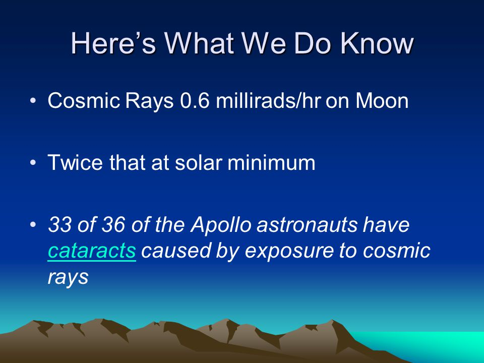 Here's What We Do Know Cosmic Rays 0.6 millirads/hr on Moon Twice that at solar minimum 33 of 36 of the Apollo astronauts have cataracts caused by exposure to cosmic rays cataracts