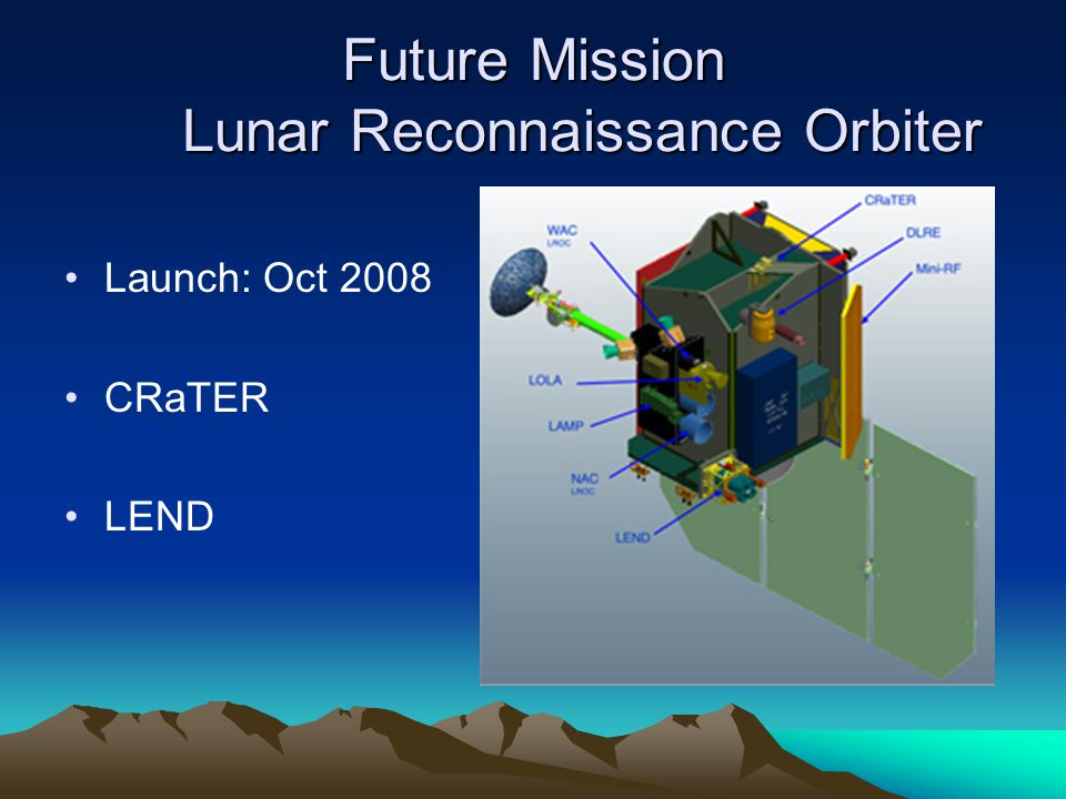 Future Mission Lunar Reconnaissance Orbiter Launch: Oct 2008 CRaTER LEND