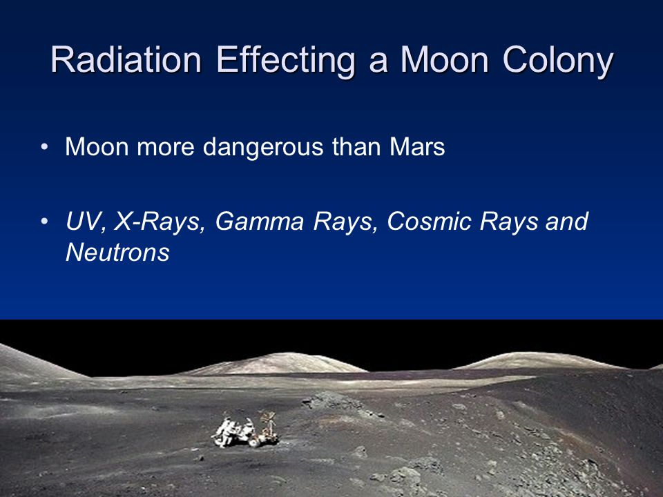 Radiation Effecting a Moon Colony Moon more dangerous than Mars UV, X-Rays, Gamma Rays, Cosmic Rays and Neutrons