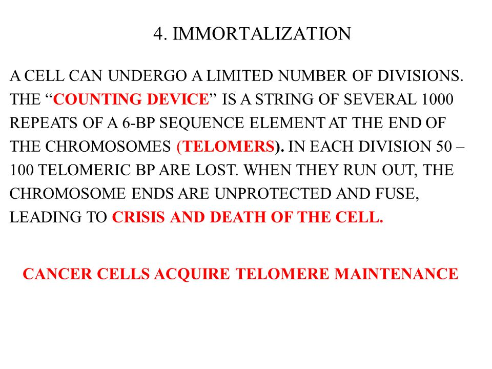 "4. IMMORTALIZATION A CELL CAN UNDERGO A LIMITED NUMBER OF DIVISIONS. THE ""COUNTING DEVICE"" IS A STRING OF SEVERAL 1000 REPEATS OF A 6-BP SEQUENCE ELEM"