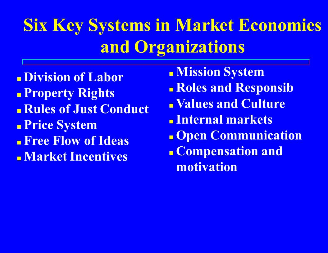 Six Key Systems in Market Economies and Organizations n Division of Labor n Property Rights n Rules of Just Conduct n Price System n Free Flow of Ideas n Market Incentives n Mission System n Roles and Responsib n Values and Culture n Internal markets n Open Communication n Compensation and motivation