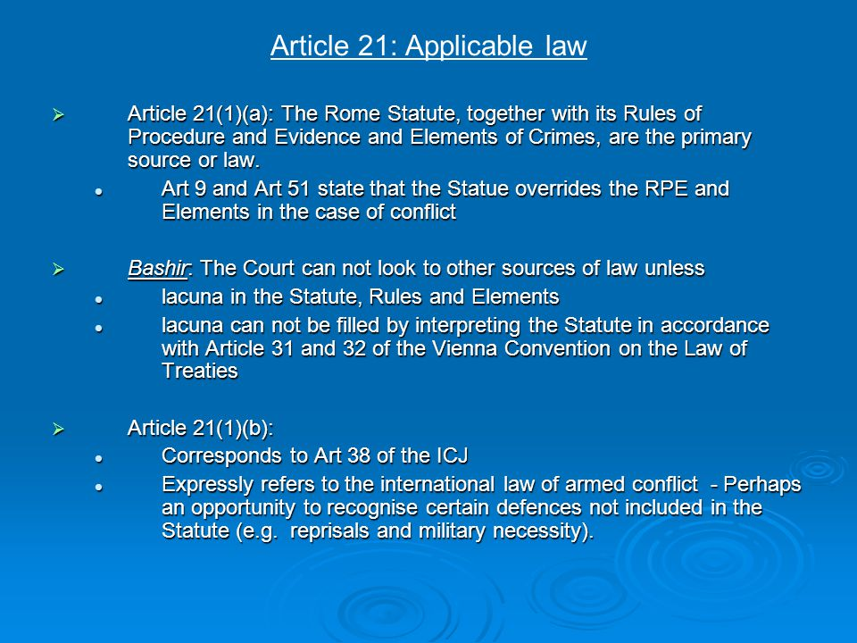 Article 31: Grounds for excluding criminal responsibility Duress/Necessity  A person shall not be criminally responsible if at the time of the offence there exists: A threat of imminent death or continuing or imminent serious bodily harm against the person concerned or a third person made by other persons or by circumstances beyond that person's control; A threat of imminent death or continuing or imminent serious bodily harm against the person concerned or a third person made by other persons or by circumstances beyond that person's control; The person's response is a necessary and reasonable reaction to avoid this threat; and The person's response is a necessary and reasonable reaction to avoid this threat; and The person does not intend to cause a greater harm than the one sought to be avoided person The person does not intend to cause a greater harm than the one sought to be avoided person  Article 31(1)(d) of the Rome Statute collapses this distinction between duress and necessity.