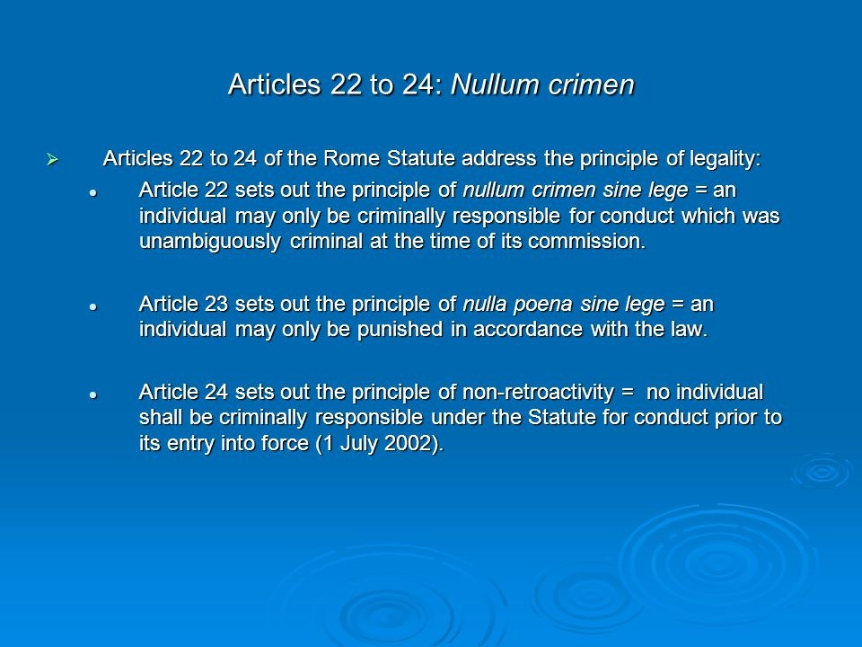 Article 28: Responsibility of commanders and other superiors Rome Statute  Art 28 distinguishes between civilian and military superiors.