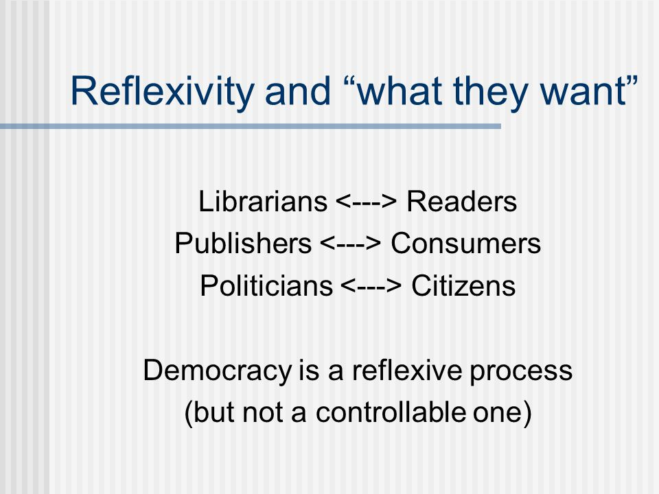 Reflexivity and what they want Librarians Readers Publishers Consumers Politicians Citizens Democracy is a reflexive process (but not a controllable one)