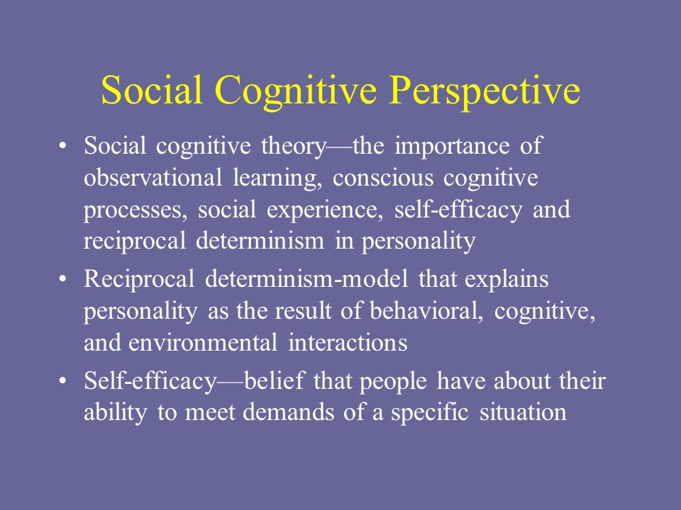 Social Cognitive Perspective Social cognitive theory—the importance of observational learning, conscious cognitive processes, social experience, self-efficacy and reciprocal determinism in personality Reciprocal determinism-model that explains personality as the result of behavioral, cognitive, and environmental interactions Self-efficacy—belief that people have about their ability to meet demands of a specific situation
