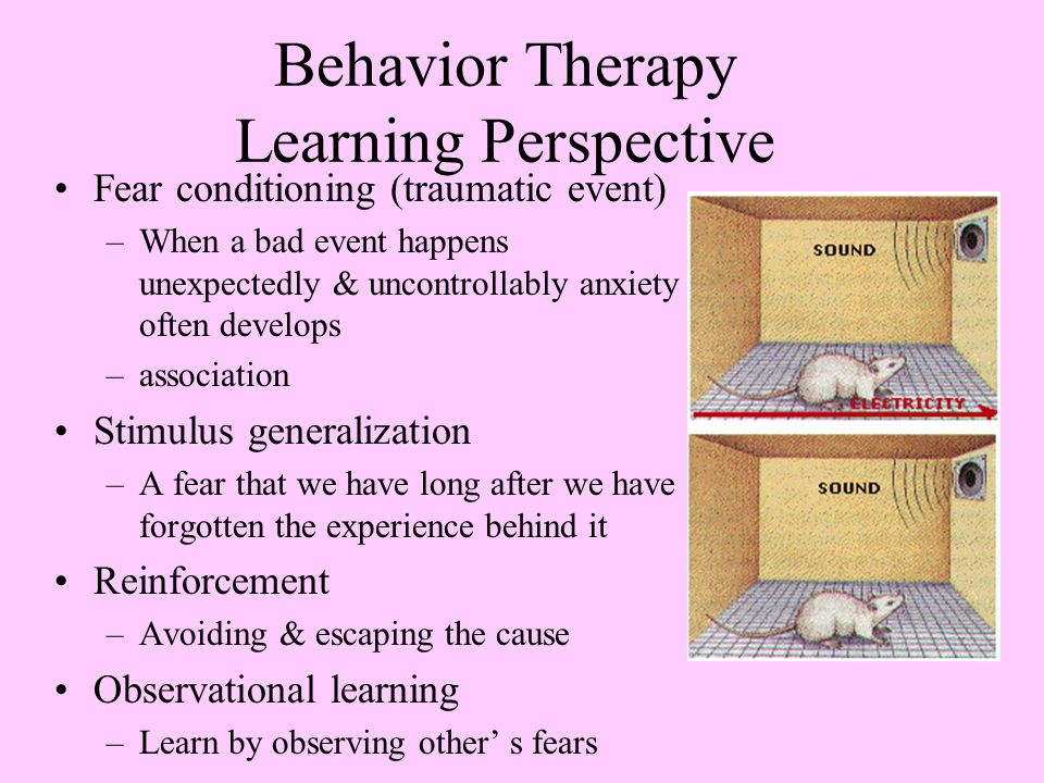 Behavior Therapy Learning Perspective Fear conditioning (traumatic event) –When a bad event happens unexpectedly & uncontrollably anxiety often develops –association Stimulus generalization –A fear that we have long after we have forgotten the experience behind it Reinforcement –Avoiding & escaping the cause Observational learning –Learn by observing other' s fears