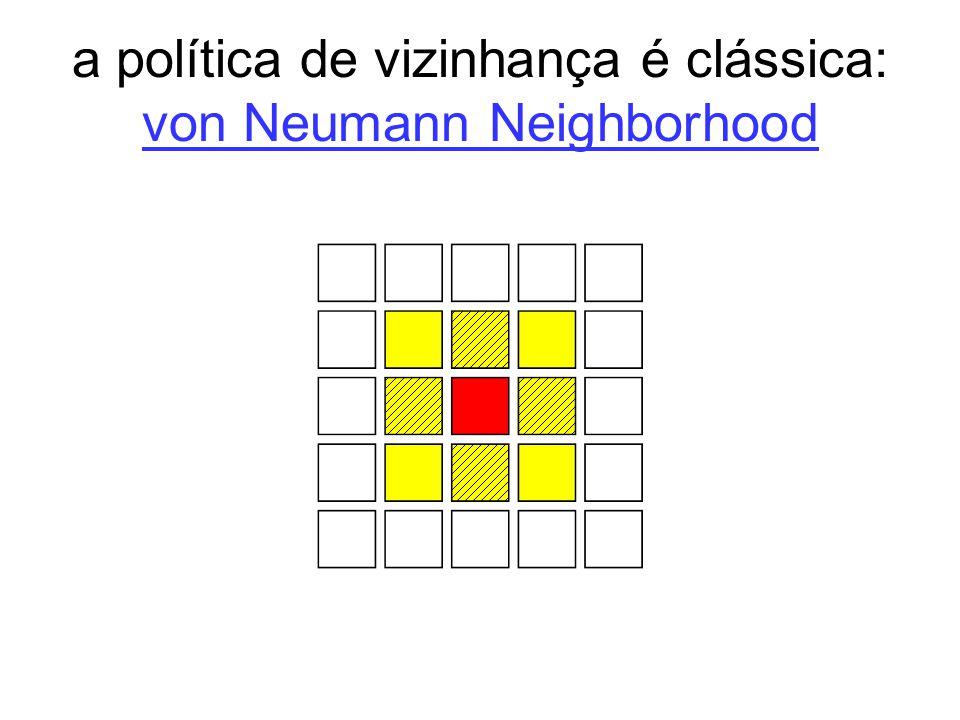 a política de vizinhança é clássica: von Neumann Neighborhood