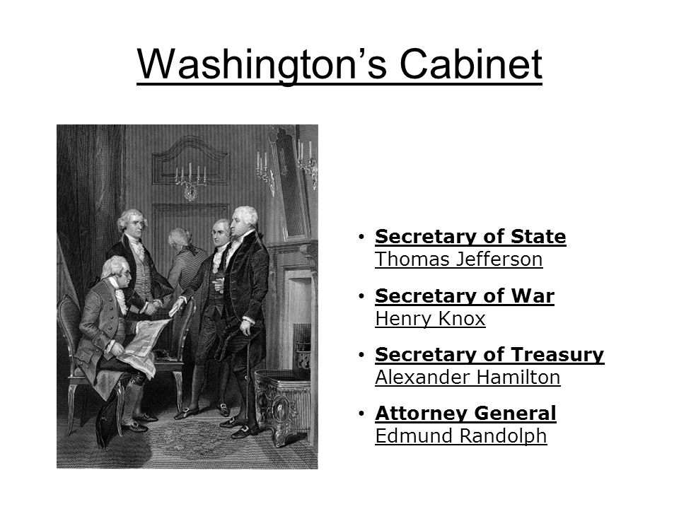 Secretary of State Thomas Jefferson Secretary of War Henry Knox Secretary of Treasury Alexander Hamilton Attorney General Edmund Randolph Washington's Cabinet
