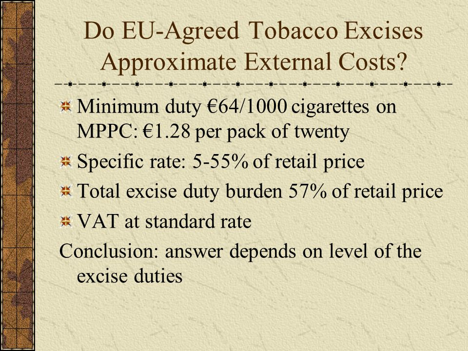 Do EU-Agreed Tobacco Excises Approximate External Costs.