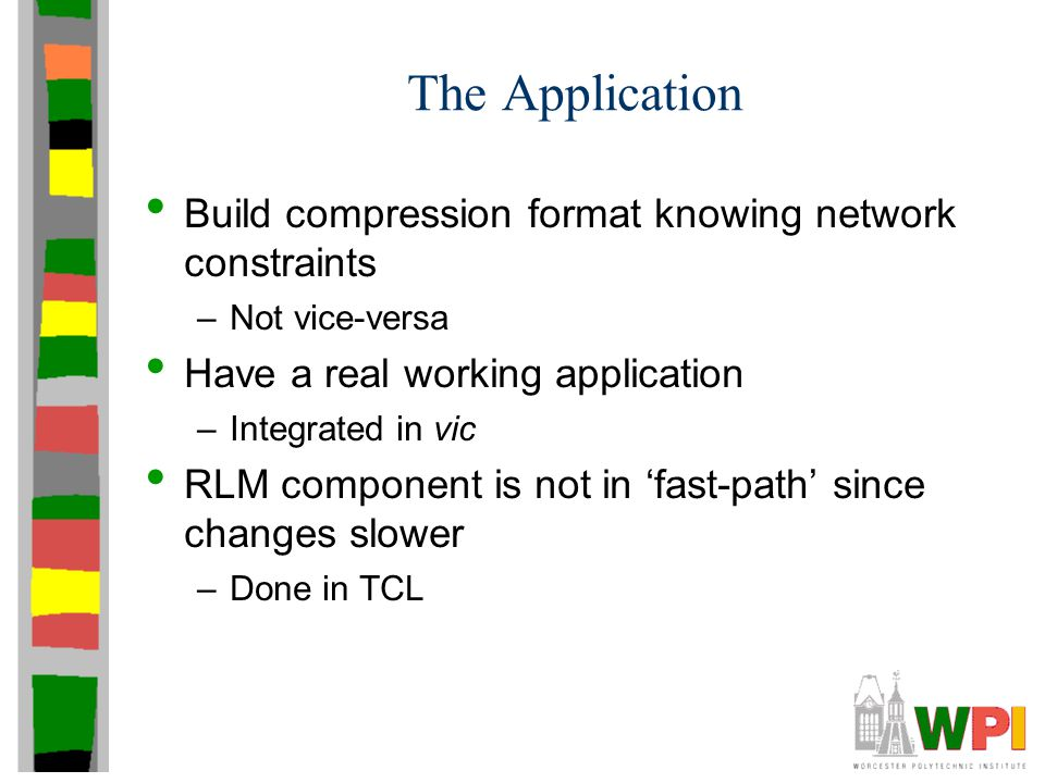 The Application Build compression format knowing network constraints –Not vice-versa Have a real working application –Integrated in vic RLM component
