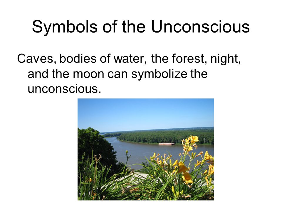 Symbols of the Unconscious Caves, bodies of water, the forest, night, and the moon can symbolize the unconscious.