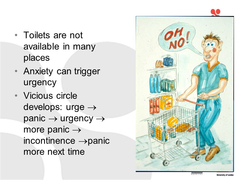 Toilets are not available in many places Anxiety can trigger urgency Vicious circle develops: urge  panic  urgency  more panic  incontinence  panic more next time