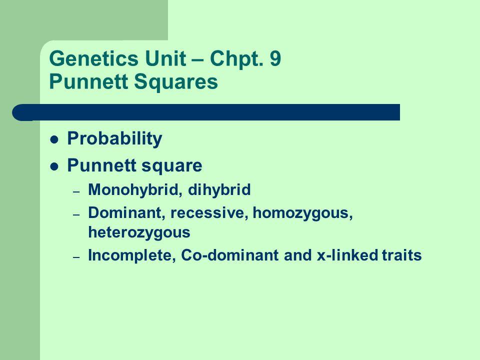 Genetics Unit – Chpt. 9 Punnett Squares Probability Punnett square – Monohybrid, dihybrid – Dominant, recessive, homozygous, heterozygous – Incomplete