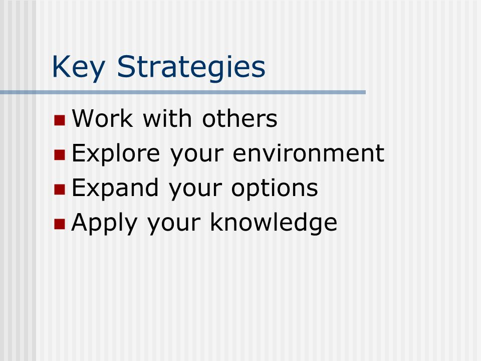 Key Strategies Work with others Explore your environment Expand your options Apply your knowledge
