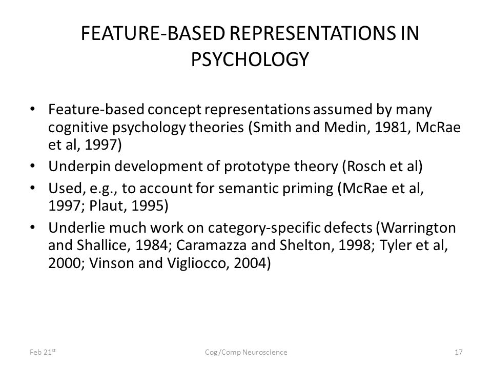 Feb 21 st Cog/Comp Neuroscience17 FEATURE-BASED REPRESENTATIONS IN PSYCHOLOGY Feature-based concept representations assumed by many cognitive psycholo