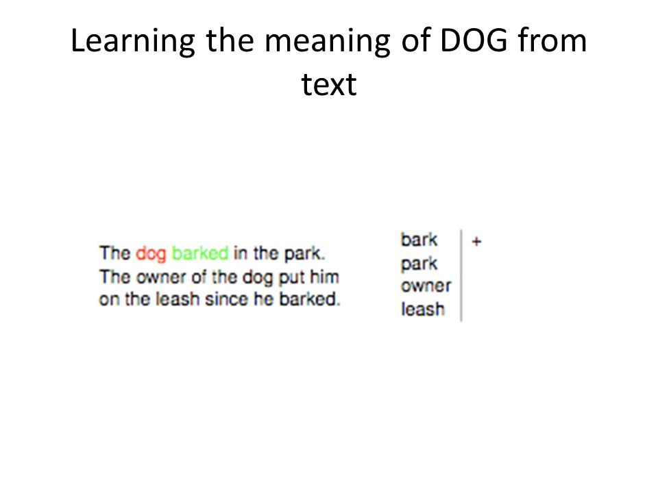 Learning the meaning of DOG from text