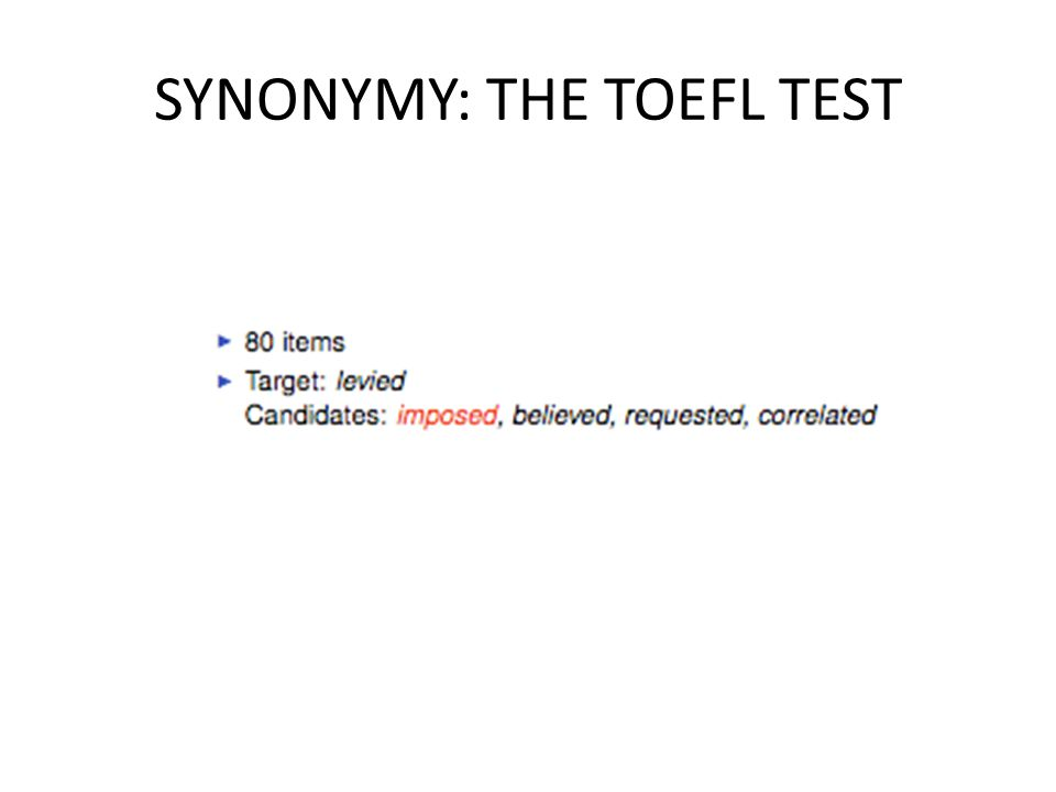 SYNONYMY: THE TOEFL TEST