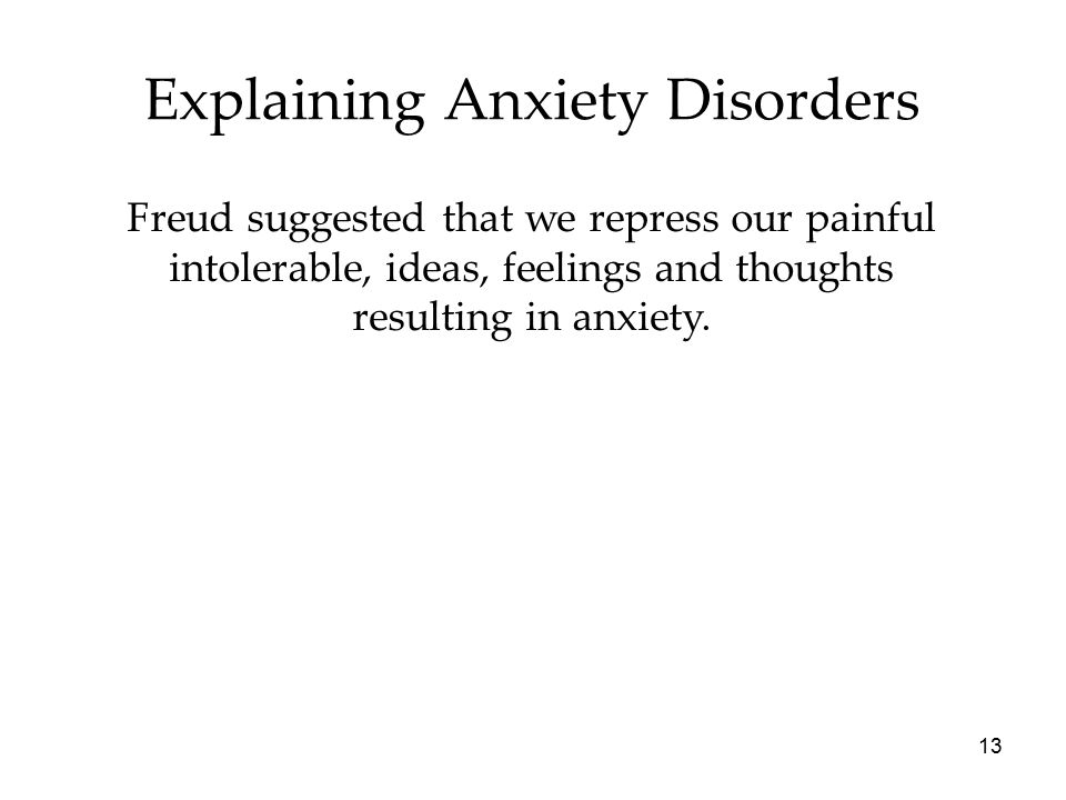 13 Explaining Anxiety Disorders Freud suggested that we repress our painful intolerable, ideas, feelings and thoughts resulting in anxiety.