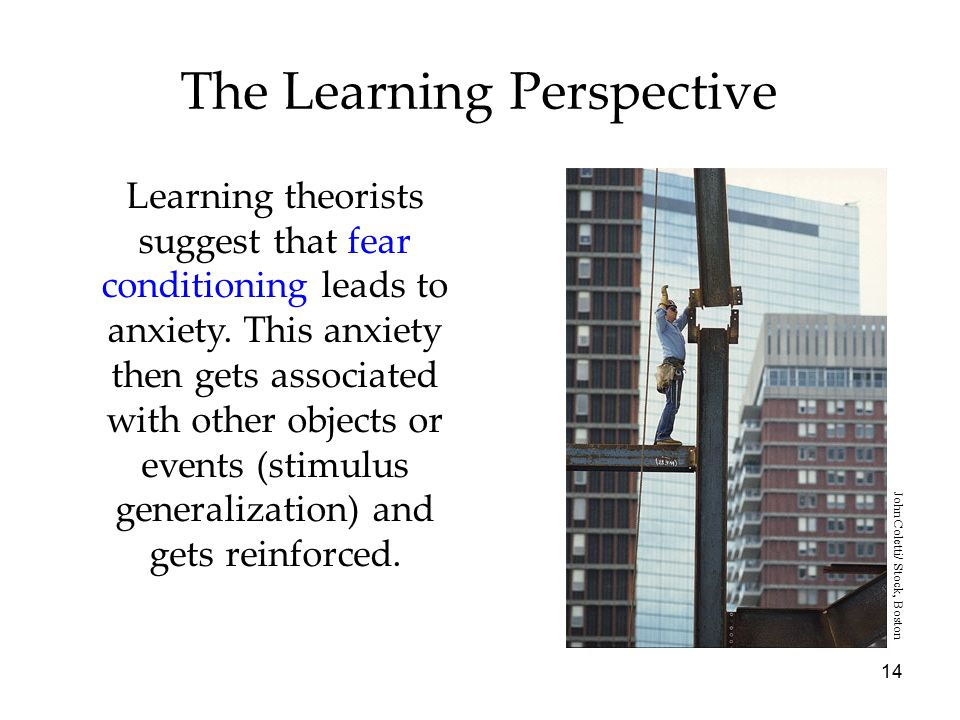 14 The Learning Perspective Learning theorists suggest that fear conditioning leads to anxiety.