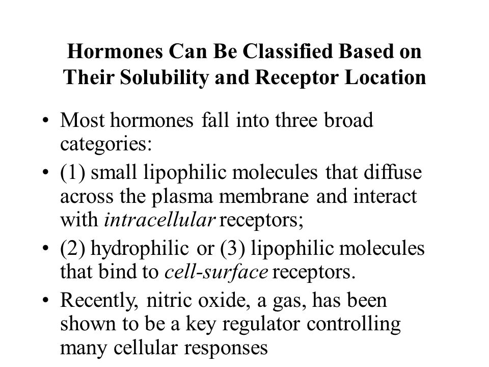 Hormones Can Be Classified Based on Their Solubility and Receptor Location Most hormones fall into three broad categories: (1) small lipophilic molecu