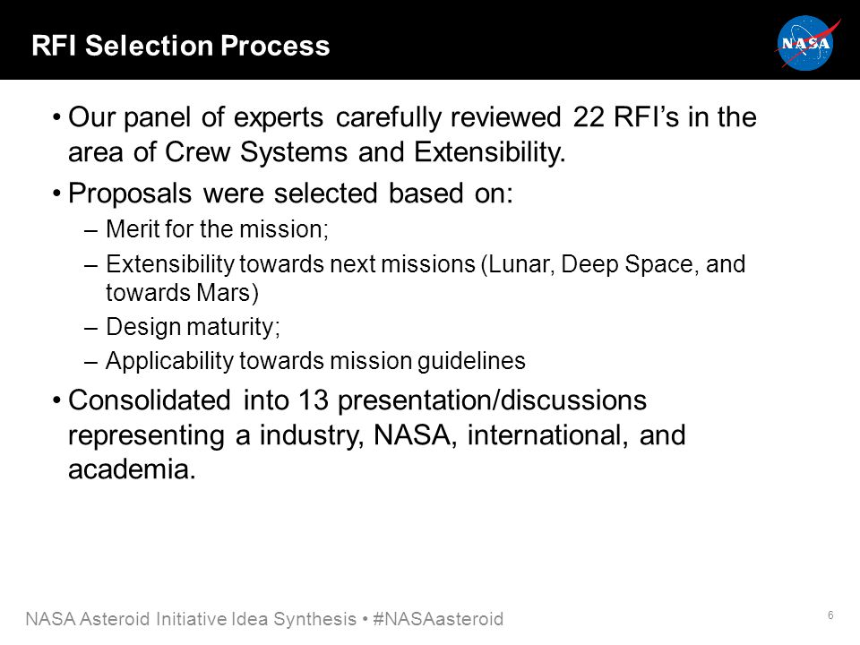 RFI Selection Process Our panel of experts carefully reviewed 22 RFI's in the area of Crew Systems and Extensibility.