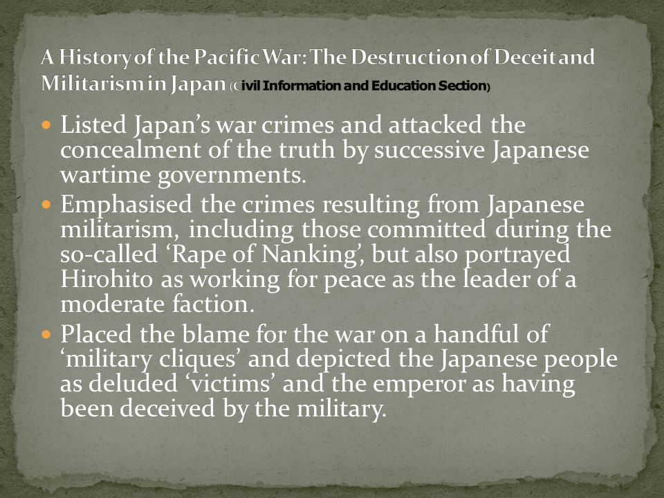 Listed Japan's war crimes and attacked the concealment of the truth by successive Japanese wartime governments. Emphasised the crimes resulting from J